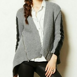Anthropologie Moth Cardigan With Faux Leather